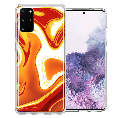 Samsung Galaxy S20 Plus Orange White Abstract Design Double Layer Phone Case Cover