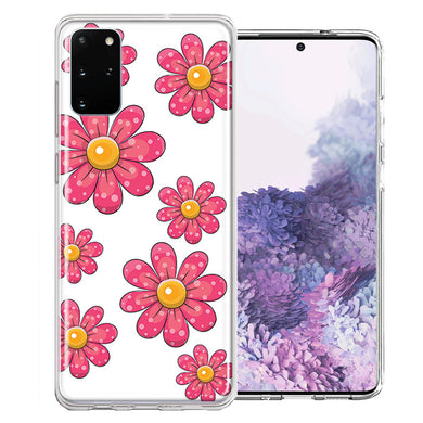 Samsung Galaxy S20 Plus Pink Daisy Flower Design Double Layer Phone Case Cover
