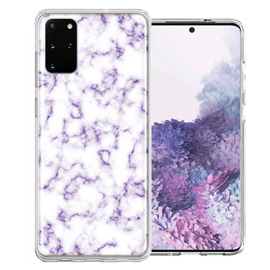 Samsung Galaxy S20 Plus Purple Marble Design Double Layer Phone Case Cover