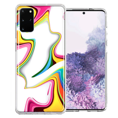 Samsung Galaxy S20 Rainbow Abstract Design Double Layer Phone Case Cover