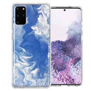 Samsung Galaxy S20 Plus Sky Blue Swirl Design Double Layer Phone Case Cover