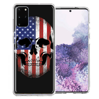 Samsung Galaxy S20 Plus US Flag Skull Double Layer Phone Case Cover