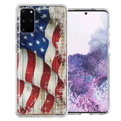 Samsung Galaxy S20 Plus Vintage American Flag Design Double Layer Phone Case Cover