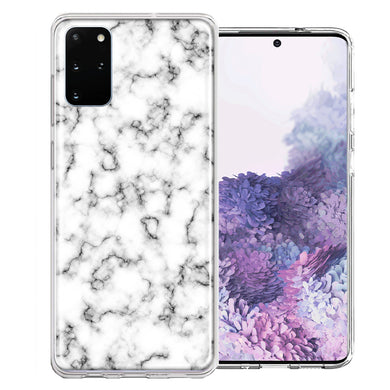 Samsung Galaxy S20 Plus White Grey Marble Design Double Layer Phone Case Cover