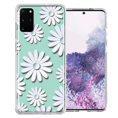 Samsung Galaxy S20 White Teal Daisies Design Double Layer Phone Case Cover