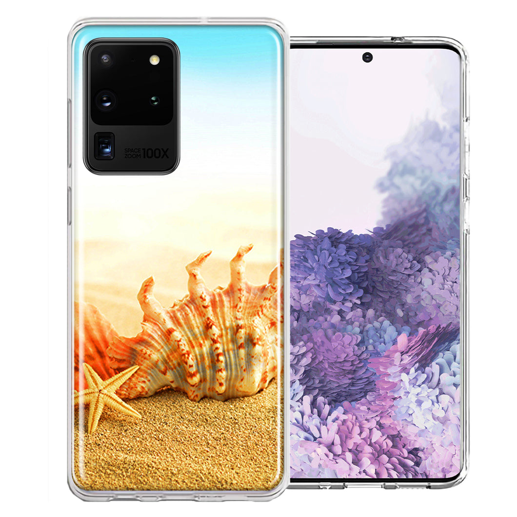 Samsung Galaxy S20 Ultra Beach Shell Design Double Layer Phone Case Cover
