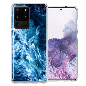 Samsung Galaxy S20 Ultra Deep Blue Ocean Waves Design Double Layer Phone Case Cover