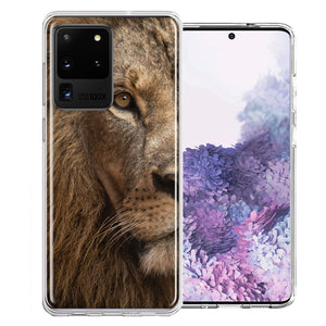 Samsung Galaxy S20 Ultra Lion Face Nosed Design Double Layer Phone Case Cover