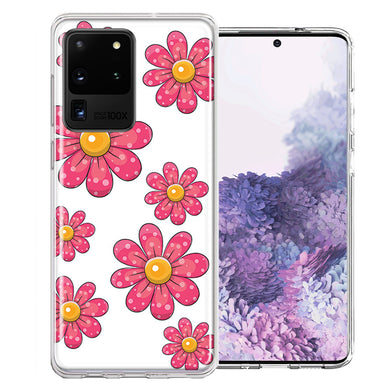 Samsung Galaxy S20 Ultra Pink Daisy Flower Design Double Layer Phone Case Cover