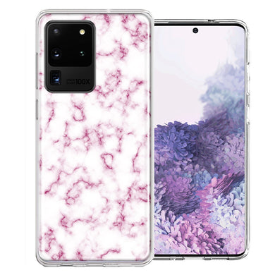 Samsung Galaxy S20 Ultra Pink Marble Design Double Layer Phone Case Cover