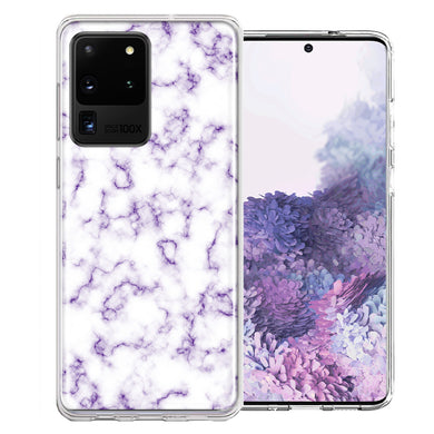 Samsung Galaxy S20 Ultra Purple Marble Design Double Layer Phone Case Cover