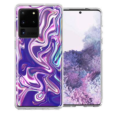 Samsung Galaxy S20 Ultra Purple Paint Swirl  Design Double Layer Phone Case Cover
