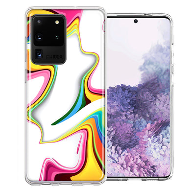 Samsung Galaxy S20 Ultra Rainbow Abstract Design Double Layer Phone Case Cover