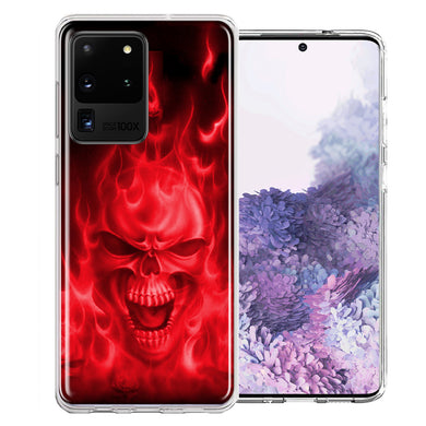 Samsung Galaxy S20 Ultra Red Flaming Skull Design Double Layer Phone Case Cover