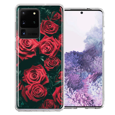 Samsung Galaxy S20 Ultra Red Roses Design Double Layer Phone Case Cover