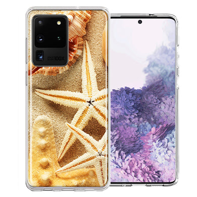 Samsung Galaxy S20 Ultra Sand Shells Starfish Design Double Layer Phone Case Cover