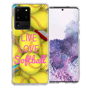 Samsung Galaxy S20 Ultra Love Softball Design Double Layer Phone Case Cover