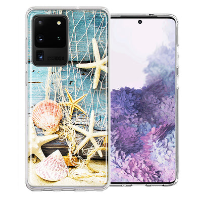 Samsung Galaxy S20 Ultra Starfish Net Design Double Layer Phone Case Cover