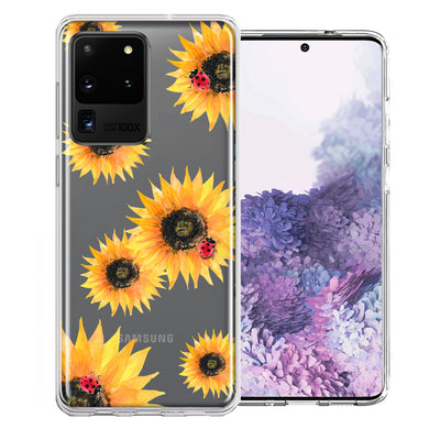 Samsung Galaxy S20 Ultra Sunflower Ladybug Design Double Layer Phone Case Cover