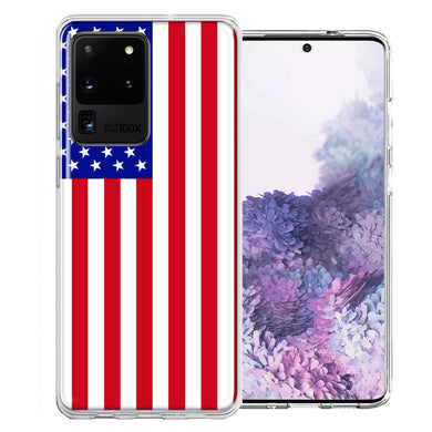 Samsung Galaxy S20 Ultra USA American Flag  Design Double Layer Phone Case Cover
