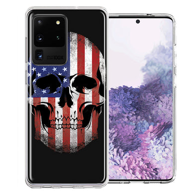 Samsung Galaxy S20 Ultra US Flag Skull Double Layer Phone Case Cover