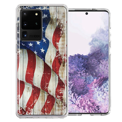 Samsung Galaxy S20 Ultra Vintage American Flag Design Double Layer Phone Case Cover