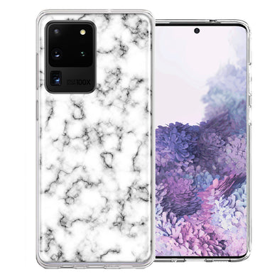Samsung Galaxy S20 Ultra White Grey Marble Design Double Layer Phone Case Cover