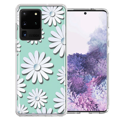 Samsung Galaxy S20 Ultra White Teal Daisies Design Double Layer Phone Case Cover