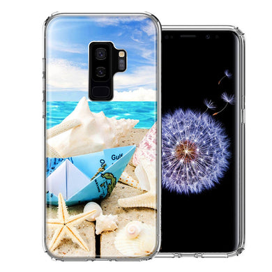 Samsung Galaxy S9 Plus Beach Paper Boat Design Double Layer Phone Case Cover