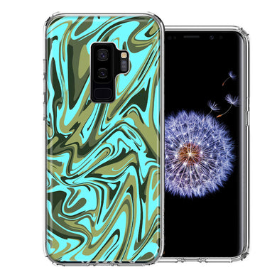 Samsung Galaxy S9 Plus Blue Green Abstract Design Double Layer Phone Case Cover