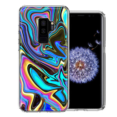 Samsung Galaxy S9 Plus Blue Paint Swirl Design Double Layer Phone Case Cover