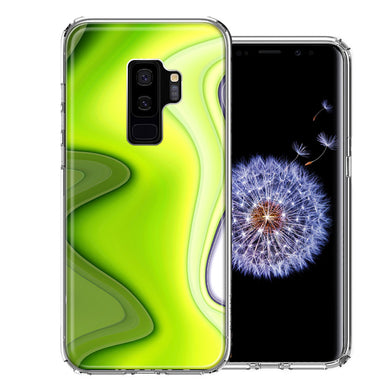 Samsung Galaxy S9 Plus Green White Abstract Design Double Layer Phone Case Cover