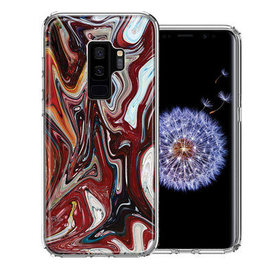 Samsung Galaxy S9 Plus Red White Abstract Design Double Layer Phone Case Cover