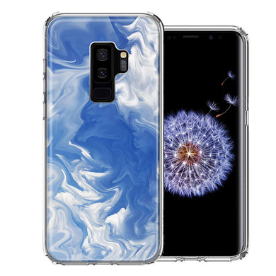 Samsung Galaxy S9 Plus Sky Blue Swirl Design Double Layer Phone Case Cover