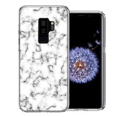 Samsung Galaxy S9 Plus White Grey Marble Design Double Layer Phone Case Cover
