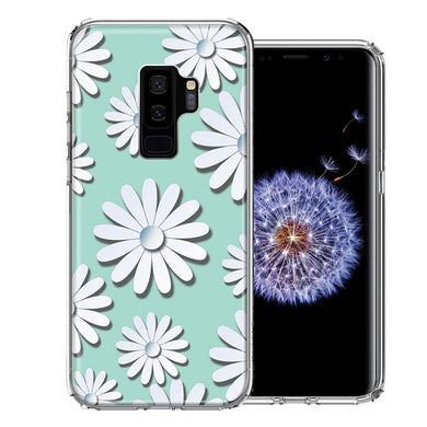 Samsung Galaxy S9 Plus White Teal Daisies Design Double Layer Phone Case Cover