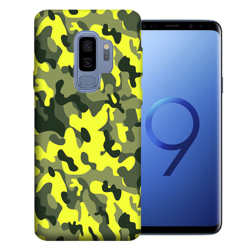 Samsung Galaxy S9 Plus Yellow Green Camo Design TPU Gel Phone Case Cover