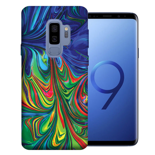 Samsung Galaxy S9 Plus Purple Green Oil Paint Design TPU Gel Phone Case Cover