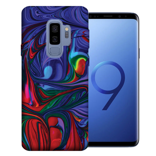 Samsung Galaxy S9 Plus Purple Red Oil Paint Design TPU Gel Phone Case Cover