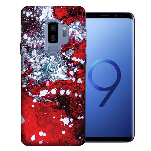 Samsung Galaxy S9 Plus Red White Oil Paint Design TPU Gel Phone Case Cover