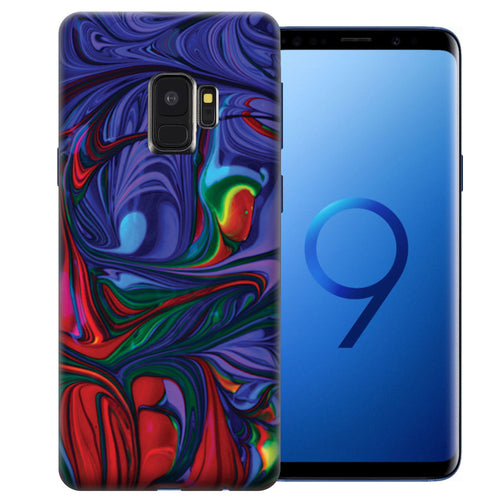 Samsung Galaxy S9 Purple Red Oil Paint Design TPU Gel Phone Case Cover
