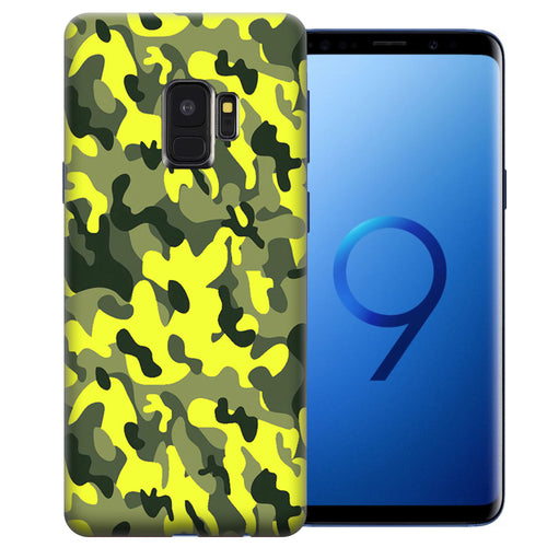 Samsung Galaxy S9 Yellow Green Camo Design TPU Gel Phone Case Cover