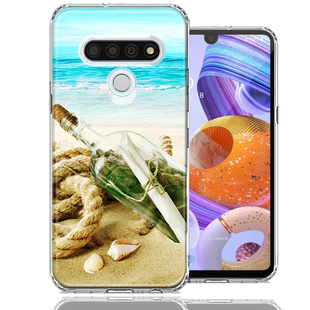 LG K51 Beach Message Bottle Design Double Layer Phone Case Cover