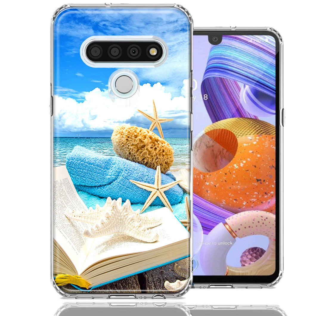 LG Stylo 6 Beach Reading Design Double Layer Phone Case Cover