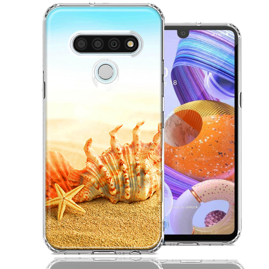 LG Stylo 6 Beach Shell Design Double Layer Phone Case Cover
