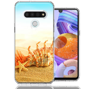 LG K51 Beach Shell Design Double Layer Phone Case Cover
