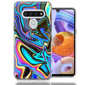 LG Stylo 6 Blue Paint Swirl Design Double Layer Phone Case Cover