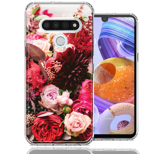 LG K51 Colorful Flowers Design Double Layer Phone Case Cover