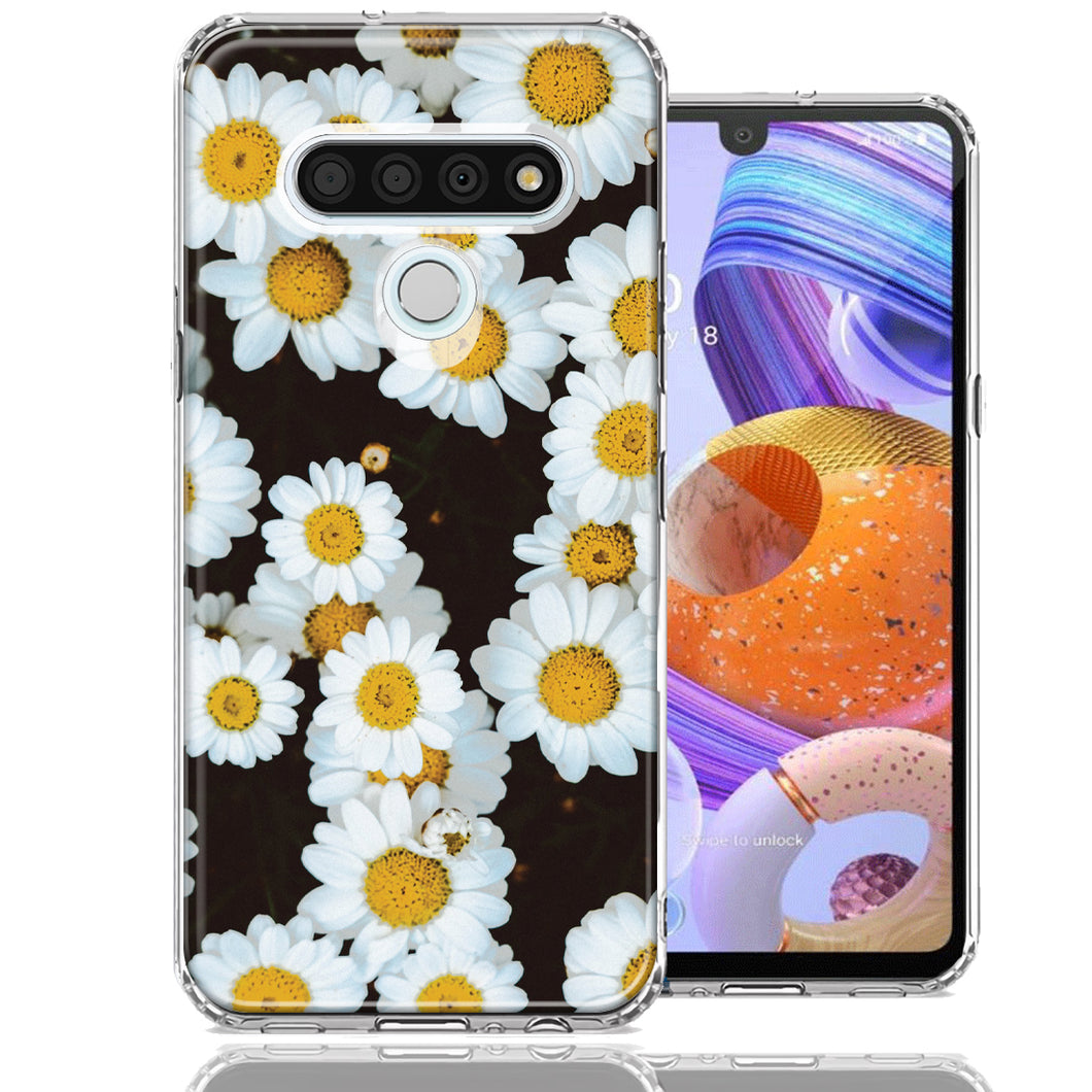LG K51 Cute Daisy Flower Design Double Layer Phone Case Cover
