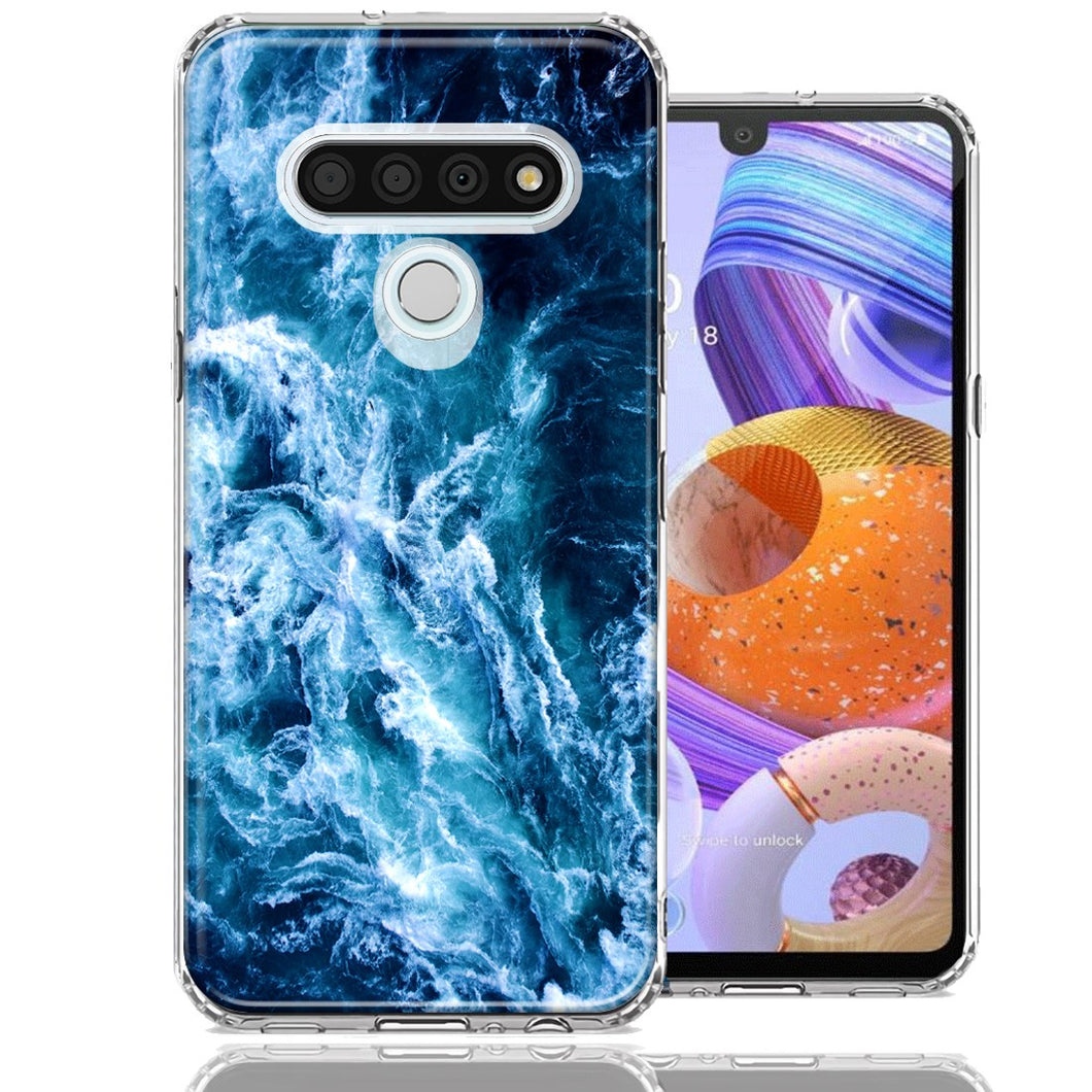 LG K51 Deep Blue Ocean Waves Design Double Layer Phone Case Cover